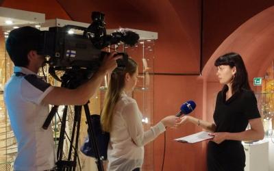 Chief conservator oftheAmber Museum IrinaRadinovich is being interviewed