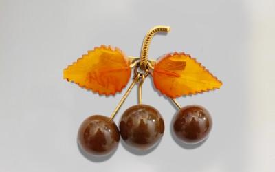 """Brooch """"Cherry"""". 1953 Kaliningrad Amber Combine, Kaliningrad region, Yantarnii"""