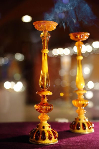 """Candle sticks, 1999 Scientific reconstruction of an item from the early 16th century  ООО """"Tsarskoe Selo Amber Workshop"""" Superviser: Krylov A.M. Performer: Kurakin V.V."""